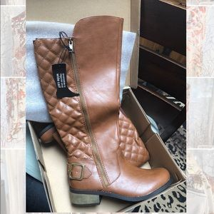 brown tan quilted faux leather knee high boots
